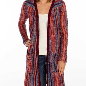 Billabong Buckle Red Striped Knit Long Cardigan L